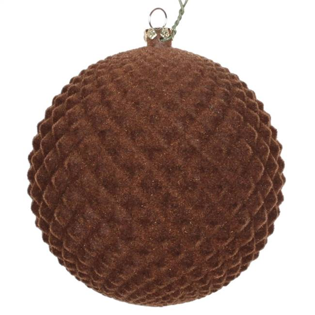 "4"" Chocolate Flocked Durian Orn 3/Bag"