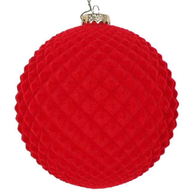 "5"" Red Flocked Durian Ornament 2/Bag"