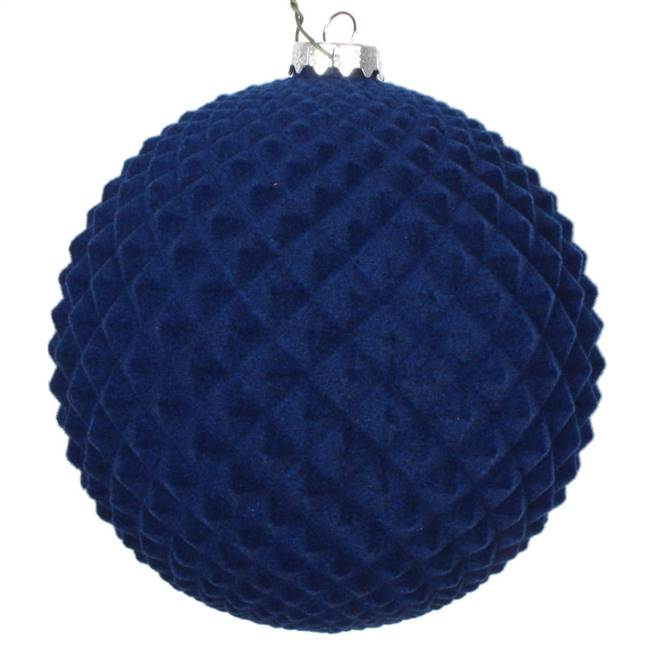 "5"" Midnight Blue Flocked Durian Orn 2/Bg"