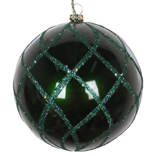 "4"" Emerald Candy Glitter Net Orn 3/Bag"