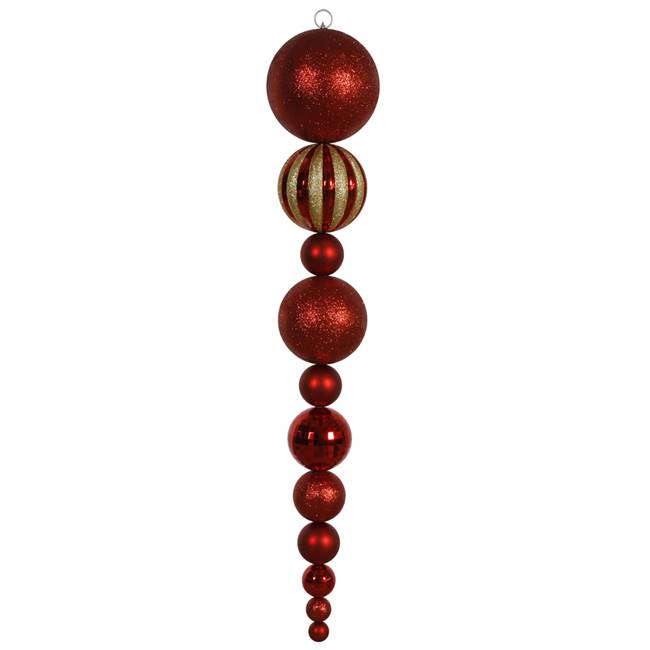 "55"" Red Shiny/Matte Ball Finial"