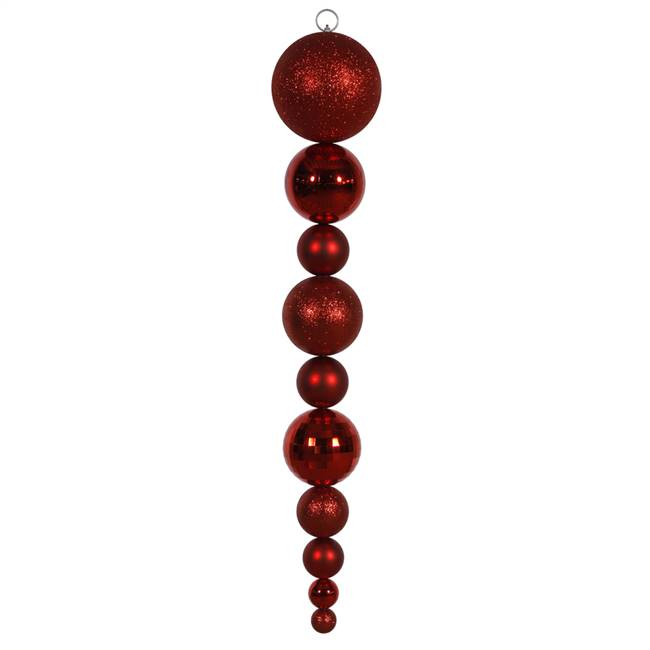 "44"" Red Shiny/Matte Ball Finial"