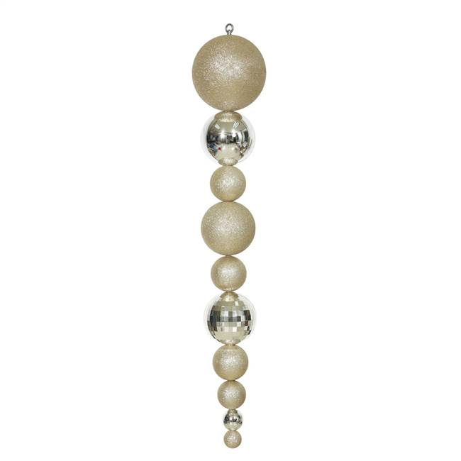 "44"" Champagne Shiny/Matte Ball Finial"