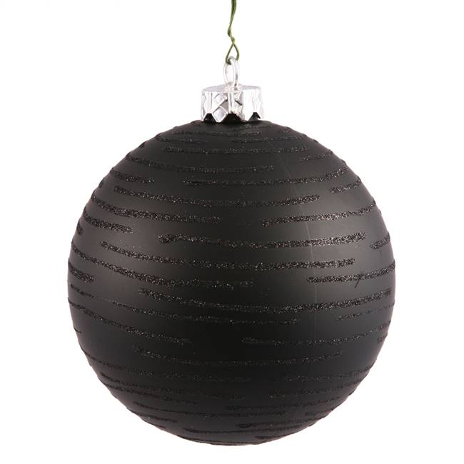 "4.75"" Black Ball w/Glitter Asst 2/Bg"