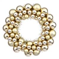 "12"" Gold Colored Ball Wreath"