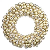 "22"" Gold Colored Ball Wreath"