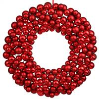 "36"" Red Colored Ball Wreath"