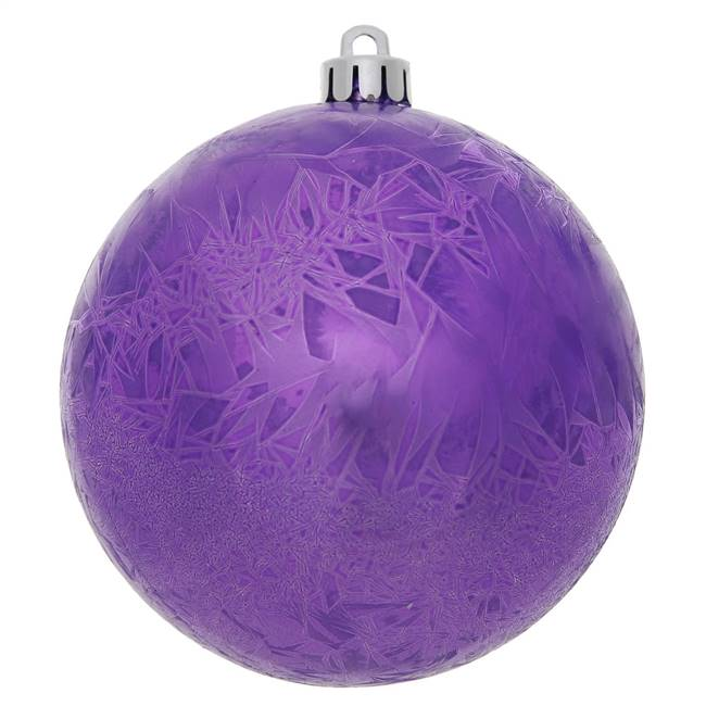 "4"" Purple Crackle Ball  Drilled 6/Bag"