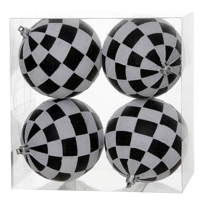 "4"" Black-White Check Glitter Ball 4/Box"