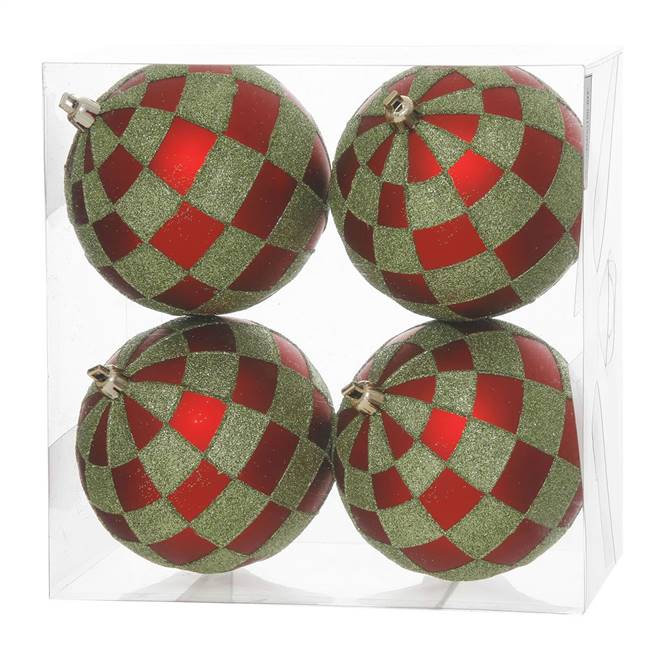 "4.7"" Red-Lime Check Glitter Ball 4/Box"