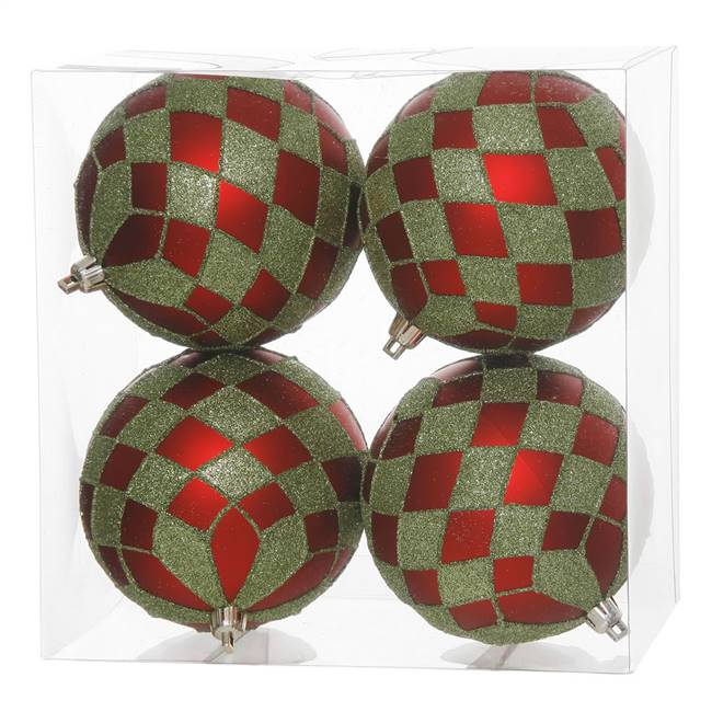 "4"" Red-Lime Diamond Glitter Ball 4/Box"