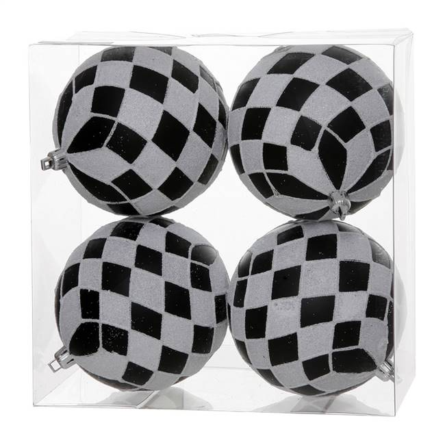 "4"" Black-White Diamond Glitter Ball 4/Bx"