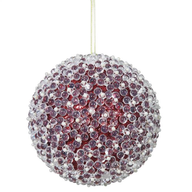 "4"" Red Acrylic Beaded Ball 4/Bx"