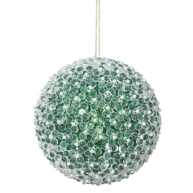 "4"" Green Acrylic Beaded Ball 4/Bx"