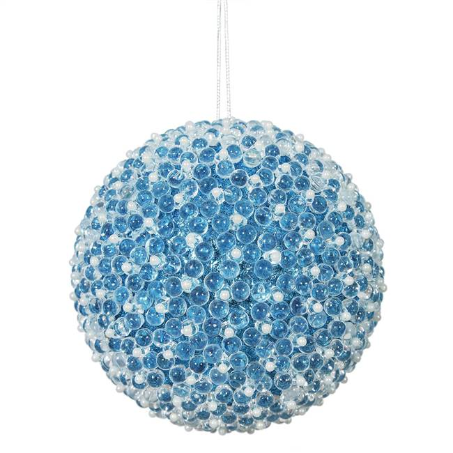 "4"" Turquoise Acrylic Beaded Ball 4/Bx"