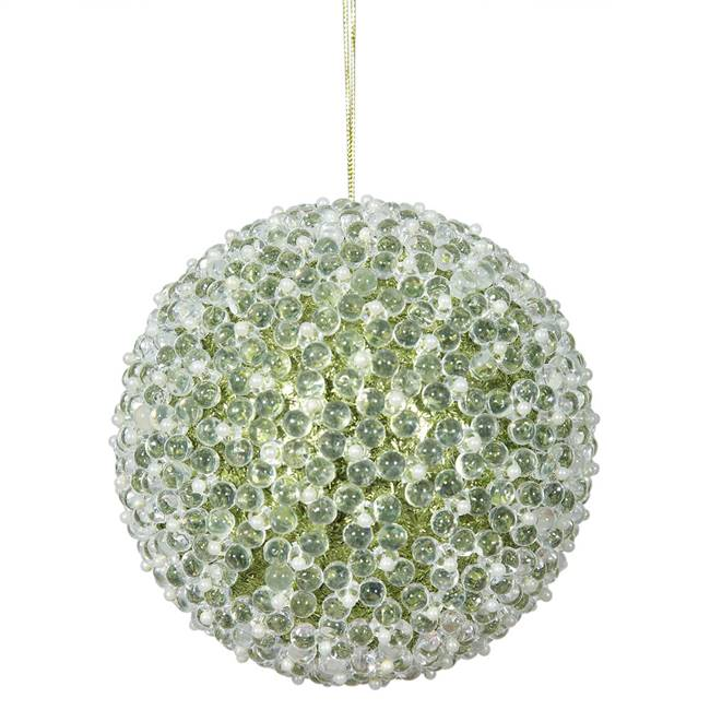 "4"" Lime Acrylic Beaded Ball 4/Bx"