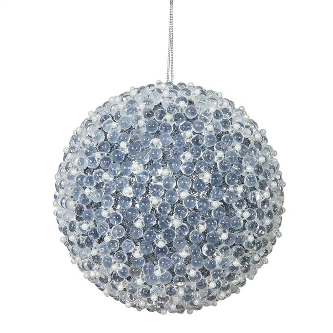 "4"" Pewter Acrylic Beaded Ball 4/Bx"