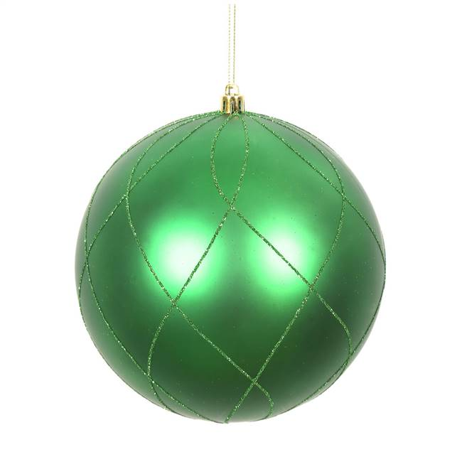 "4"" Green Matt Glitter Swirl Ball 4/Bx"