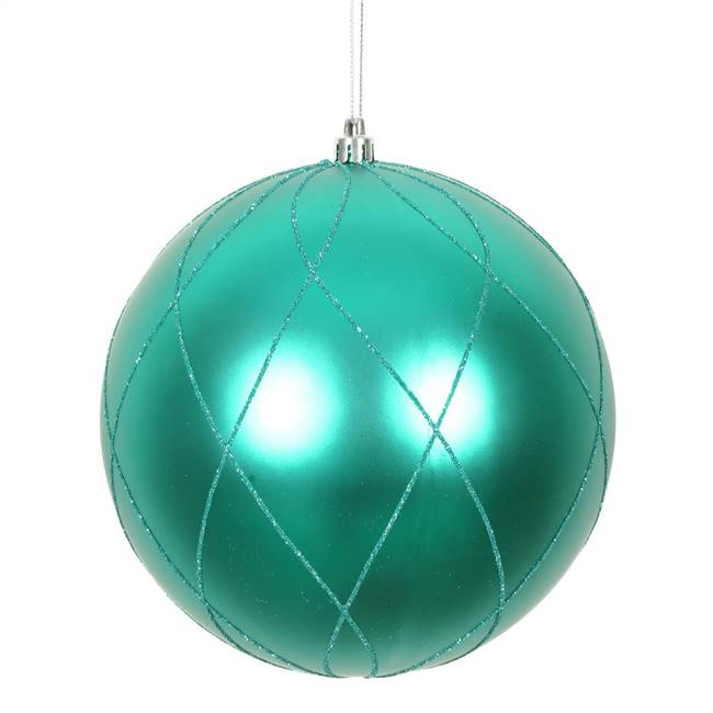"4"" Teal Matt Glitter Swirl Ball 4/Bx"