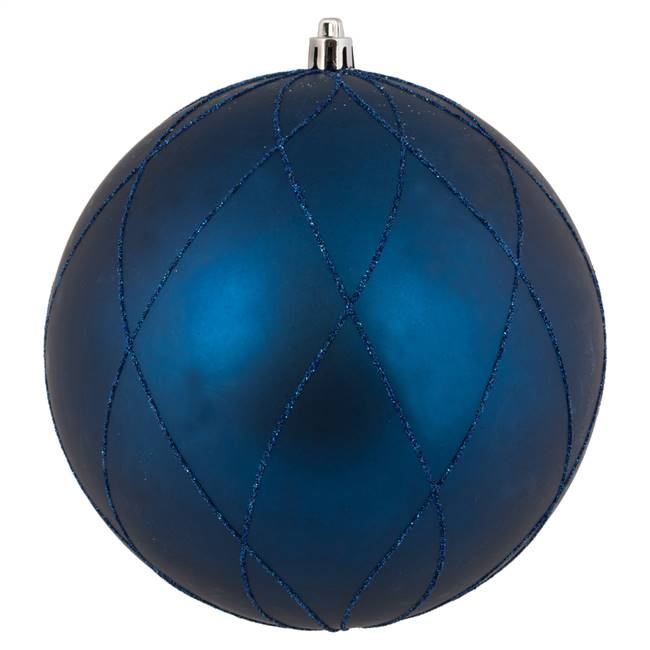 "6"" Midnt Blue Matte Glit Swirl Ball 3Bx"