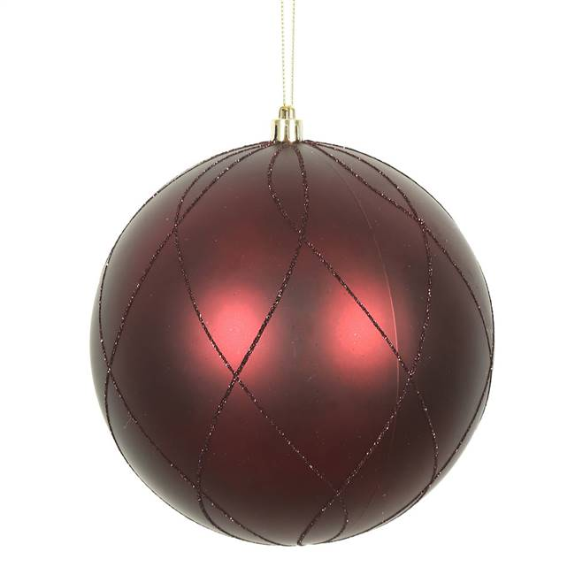 "6"" Burgundy Matt Glitter Swirl Ball 3/Bx"