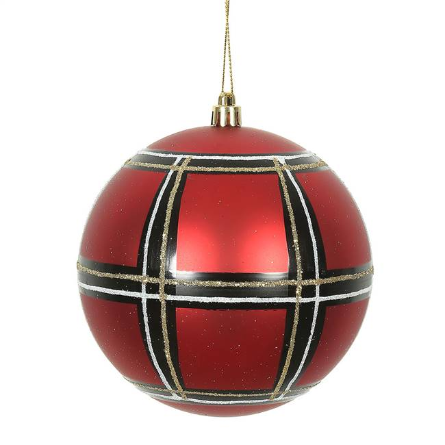 "4.75"" Red-Wht-Black Asst Plaid Ball 4/Bx"