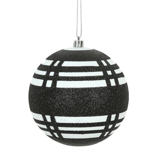 "4.75"" White-Black Asst Plaid Ball 4/Bx"
