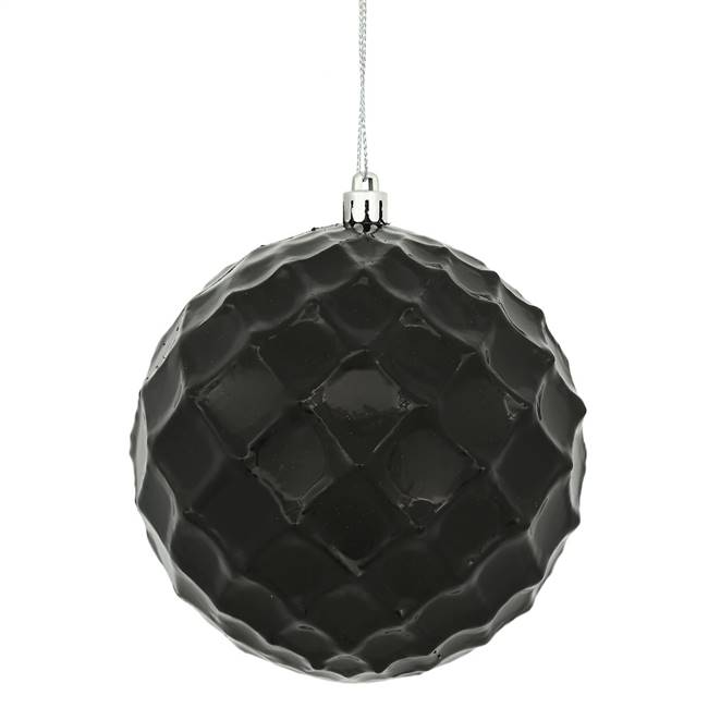 "4"" Black Shiny Diamond Bauble 6/Bg"