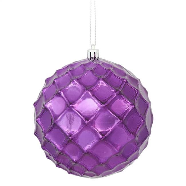 "4"" Plum Shiny Diamond Bauble 6/Bg"