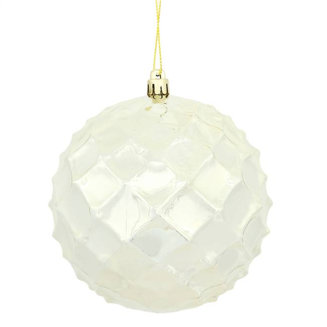 "4"" Champagne Shiny Diamond Bauble 6/Bg"