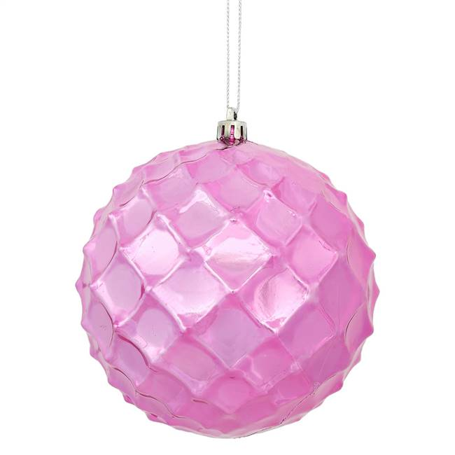 "4"" Mauve Shiny Diamond Bauble 6/Bg"