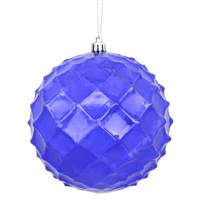 "4"" Purple Shiny Diamond Bauble 6/Bg"