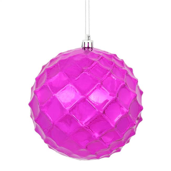 "4"" Fuchsia Shiny Diamond Bauble 6/Bg"