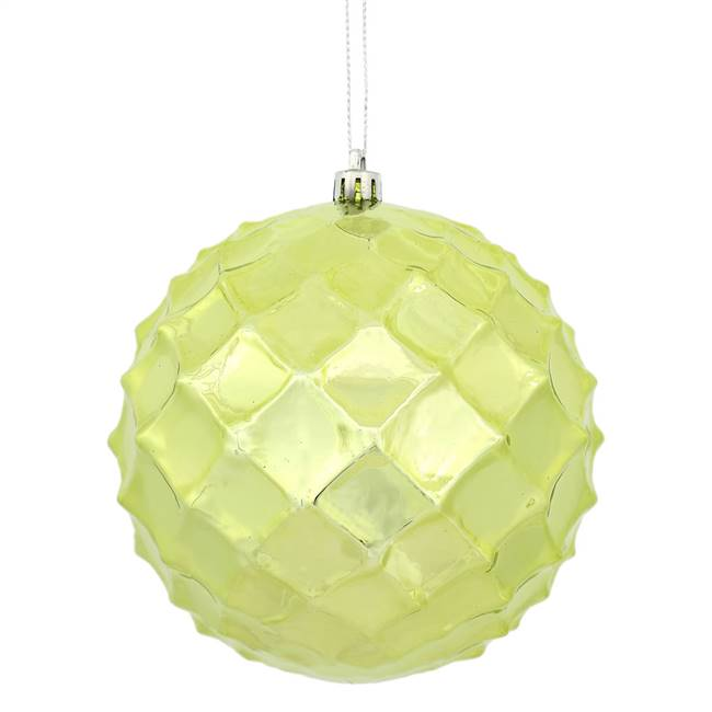 "4"" Lime Shiny Diamond Bauble 6/Bg"
