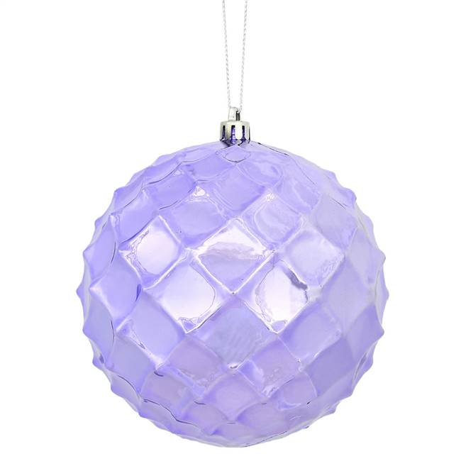"4"" Lavender Shiny Diamond Bauble 6/Bg"