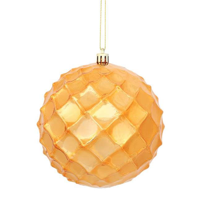 "4.75"" Burn Orange Shiny Diam Bauble 4/Bg"