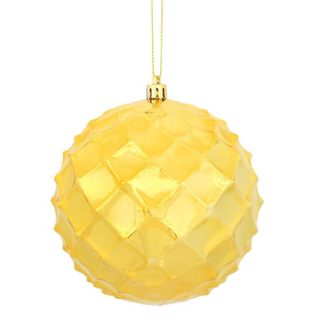 "4.75"" Honey Gold Shiny Diam Bauble 4/Bg"