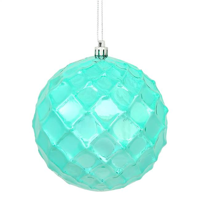 "4.75"" Teal Shiny Diamond Bauble 4/Bg"