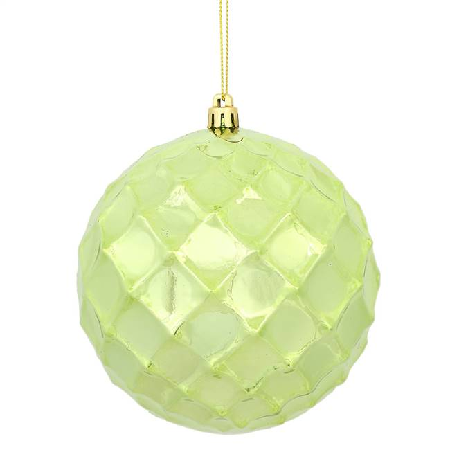 "4.75"" Celadon Shiny Diamond Bauble 4/Bg"