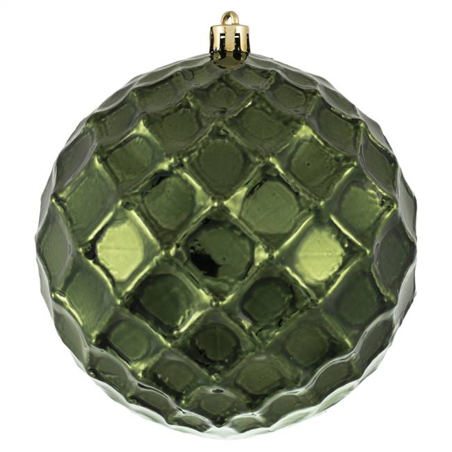 "4.75"" Moss Green Shiny Diam Bauble 4/Bg"