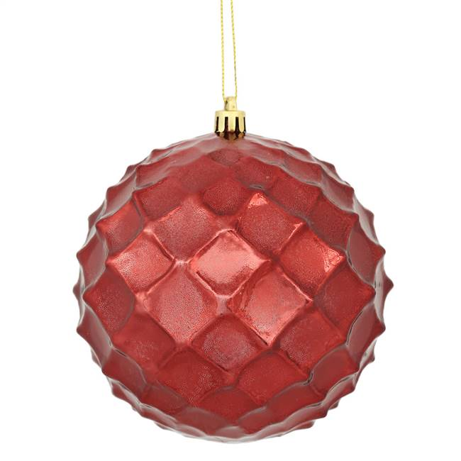 "4.75"" Burgundy Shiny Diamond Bauble 4/Bg"