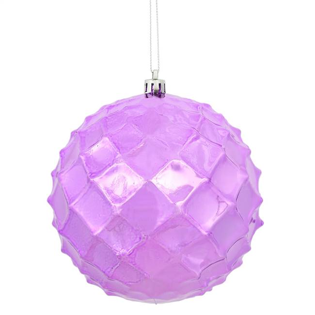 "4.75"" Orchid Shiny Diamond Bauble 4/Bg"