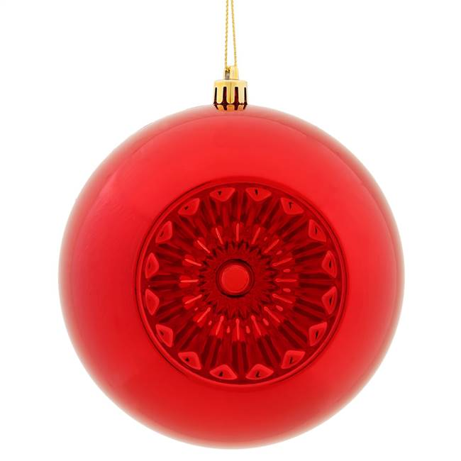 "4.75"" Red Shiny Star Brite Ball 4/Bg"