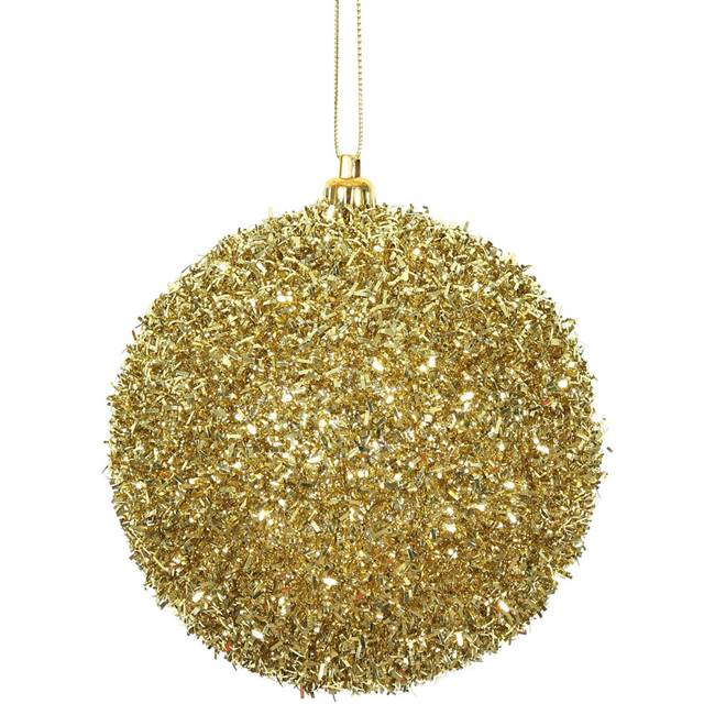 "4"" Gold Tinsel Ball 4/Bag"