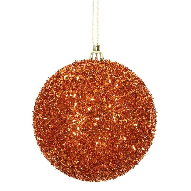 "4"" Burnish Orange Tinsel Ball 4/Bag"