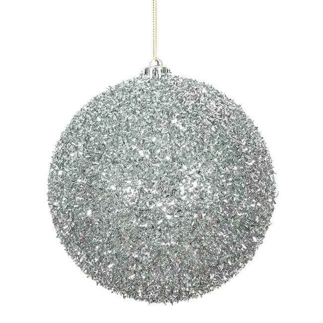 "6"" Silver Tinsel Ball 2/Bag"