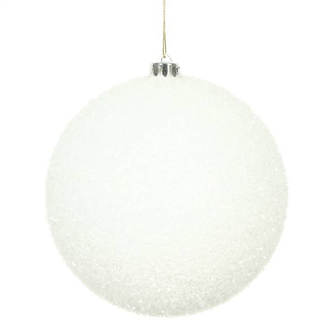 "6"" White Tinsel Ball 2/Bag"