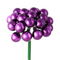 "1"" x 24pc Plum Shiny Ball Pick 2/Pk"