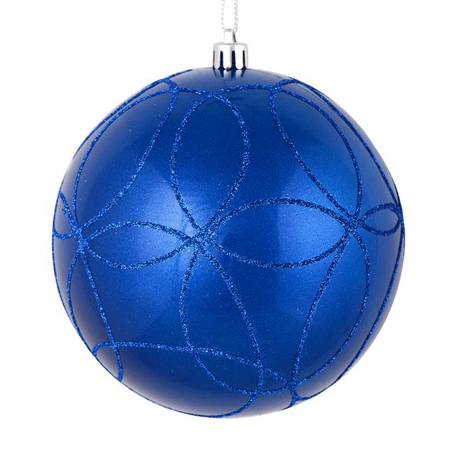 "4"" Blue Candy Ball Circle Glitter 4/Bag"