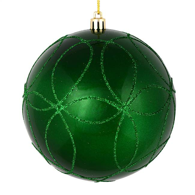 "4"" Green Candy Ball Circle Glitter 4/Bag"